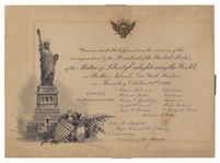 1886 Statue of Liberty Inauguration Invitation, Designed by Tiffany & Co. -- Enlightening The World