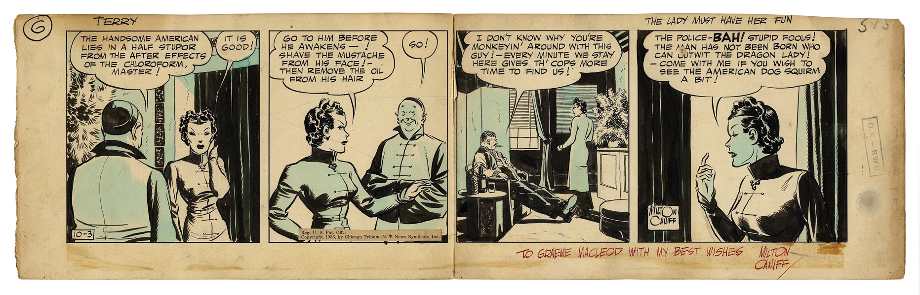 ''Terry and the Pirates'' Original Comic Strip by Milton Caniff From 1936 -- The Dragon Lady Has ''Her Fun'' by Drugging the ''Handsome American''