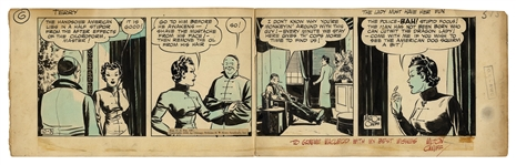 Terry and the Pirates Original Comic Strip by Milton Caniff From 1936 -- The Dragon Lady Has Her Fun by Drugging the Handsome American