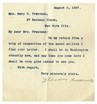 Theodore Roosevelt Letter Signed -- ...On my return from a strip of inspection of the naval militia...