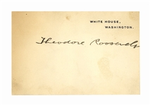 President Theodore Roosevelt White House Card Signed as President
