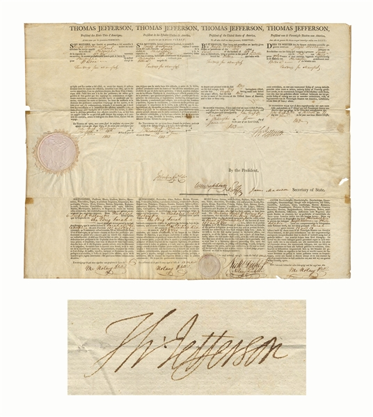Thomas Jefferson Four-Language Ship's Paper Signed as President -- Countersigned by James Madison as Secretary of State