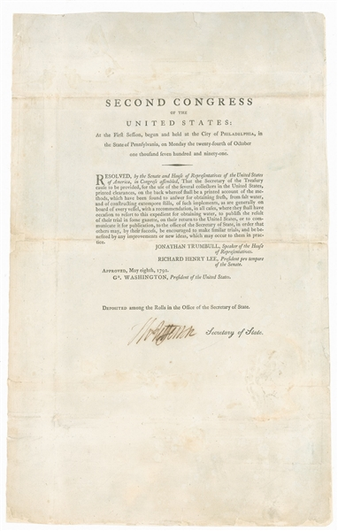 Thomas Jefferson Signed Document From the Second Session of Congress -- Jefferson Approves Funding to Desalinate Water