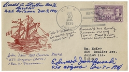 U.S.S. Arizona Cover Signed by Five Crewmen Who Survived the Pearl Harbor Sinking