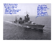 U.S.S. Indianapolis Survivors Signed Photo -- Measures 14 x 11