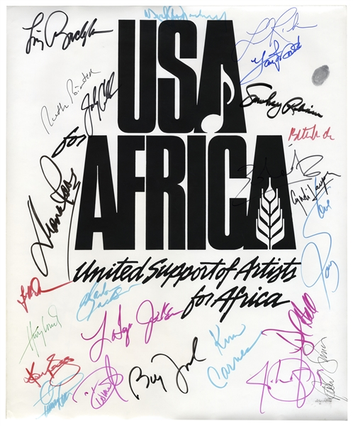 Historic ''USA for Africa'' Poster Signed by 24 Musical Artists From the 1985 Charity Single ''We Are The World'' -- Including Michael Jackson & Billy Joel