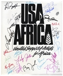 Historic USA for Africa Poster Signed by 24 Musical Artists From the 1985 Charity Single We Are The World -- Including Michael Jackson & Billy Joel