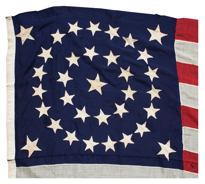 U.S. Flag With 34 Stars Representing the Addition of Kansas as the 34th State in 1861 -- Measures 9' Long -- Scarce