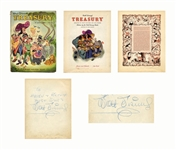 Walt Disney Signed Copy of the Disney book Treasury -- Large Signature Measures Over 8 Long