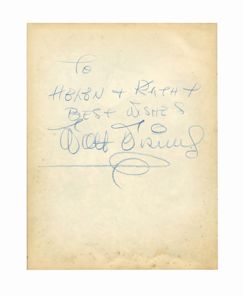 Walt Disney Signed Copy of the Disney book ''Treasury'' -- Large Signature Measures Over 8'' Long