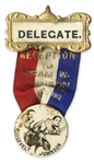 Delegate Badge for Theodore Roosevelts 1912 Progressive Party -- The First Progressive Party, Which Advocated to Get Corporate Interests Out of Politics