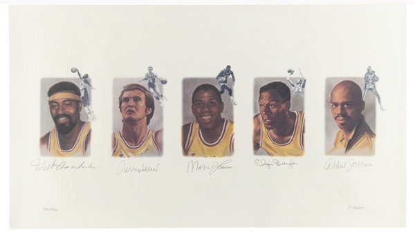 Lithograph of the Los Angeles Lakers Legends Signed by Wilt Chamberlain, Jerry West, Magic Johnson, Elgin Baylor and Kareem Abdul-Jabbar -- Limited Edition