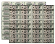 2006 Uncut Sheet of 32 $5 Federal Reserve Notes -- Near Fine -- With Original Tube From Bureau of Engraving & Printing