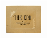 End Title Plate From Twentieth Century Pictures, the Early 1930s Incarnation of Twentieth Century Fox -- Perhaps the Only Title Plate Extant From the Studio