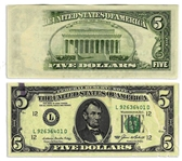 $5 Federal Reserve Error Note -- Series 1985, San Francisco -- Insufficient Ink to Verso