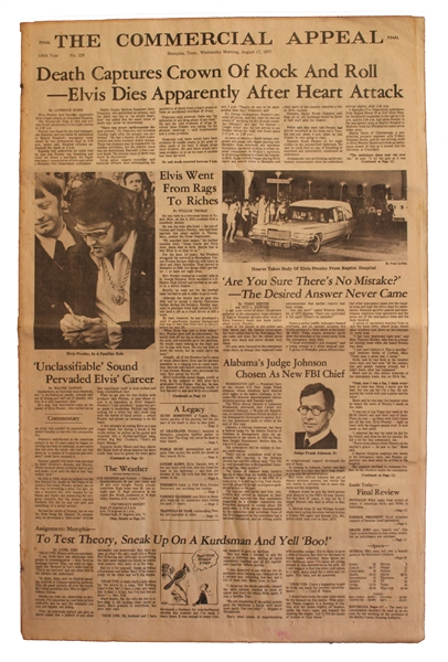 Elvis Presley Death Newspaper -- Special Edition From Memphis, Elvis' Hometown, Following His 16 August 1977 Death