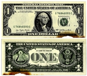 $1 Federal Reserve Error Note -- Series 1977, City of Print Missing -- Insufficient Ink to Front -- Discoloration Along Bottom Edge