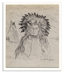 Rare Oscar Edmund Berninghaus Native American Chief Pencil Sketch Signed