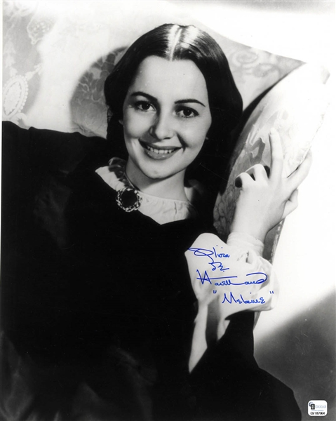 Olivia De Havilland Signed Photo as Melanie from ''Gone With the Wind'' -- 11'' x 14''