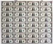 Uncut Sheet of 32 $1 Federal Reserve Notes -- Series 2003-A, Chicago -- Near Fine