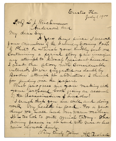 Abraham Lincoln Assassination Letter to Boarder at the Surratt House -- ''...an imaginary attempt to kidnap President Lincoln...was suggested, no doubt, by Booth's attempt at abduction...''