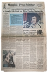 Elvis Presley Newspaper From His Hometown of Memphis -- Dated 17 August 1977 -- ...The King is Dead...
