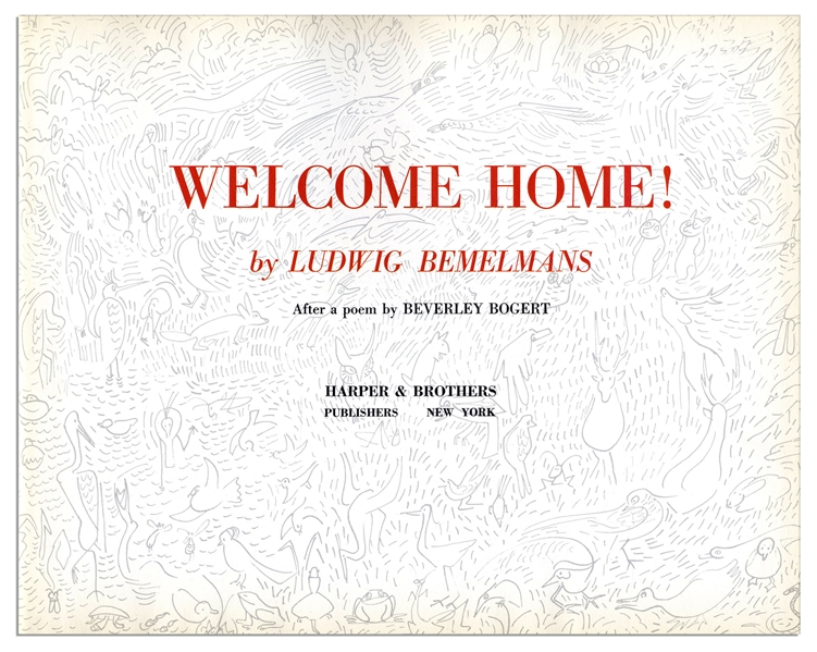 Ludwig Bemelmans ''Welcome Home!'' Signed -- With Sketch of a Young Boy