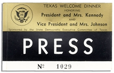 Press Badge for JFKs Texas Welcome Dinner Scheduled for the Night of 22 November 1963