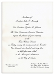 Invitation to the Dinner Welcoming President Kennedy to Texas the Night of His Assassination
