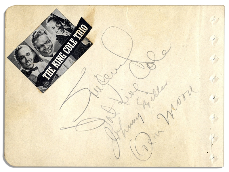 Nat King Cole Trio Autographs -- Plus Nine Additional Signatures of 1930s Jazz Legends Including Cab Calloway