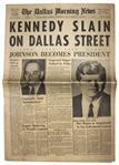 Dallas Newspaper Announcing The Assassination of JFK -- KENNEDY SLAIN ON DALLAS STREET