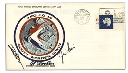 Apollo 15 Crew-Signed Astronaut Insurance Cover Issued by NASA -- Signed Al Worden, Dave Scott & Jim Irwin -- Cancelled 26 July 1971 -- 6.5 x 3.75 -- Near Fine -- With COA From Worden