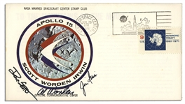 Apollo 15 Crew-Signed NASA Insurance Cover -- Al Worden, Dave Scott & Jim Irwin -- Cancelled 26 July 1971 -- 6.5 x 3.75 -- Near Fine -- With COA From Worden