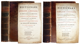 Scarce Second Edition of Samuel Johnsons 2-Volume Masterpiece of Lexicography -- A Dictionary Of The English Language: In Which The Words Are Deduced From The Originals... -- 1755