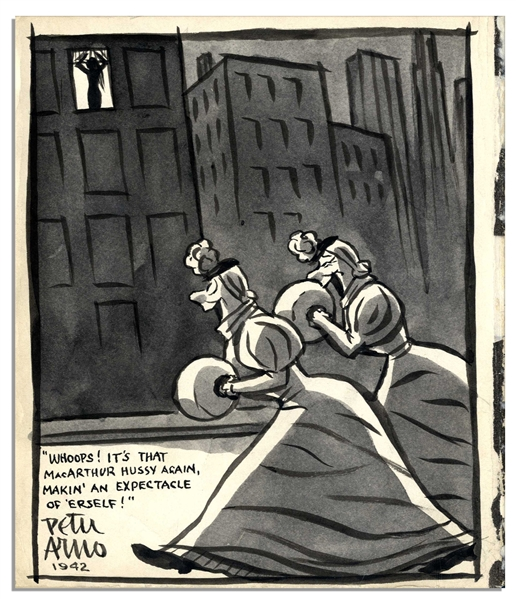 Peter Arno Original Hand-Drawn Cartoon Signed -- Created for Helen Hayes' Daughter