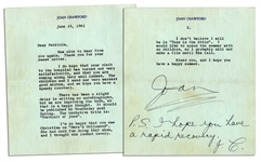 Joan Crawford Letter Signed With Autograph Postscript -- ...Im so happy that you saw Christina on Heres Hollywood. She had such fun doing that show, and I thought she looked lovely...