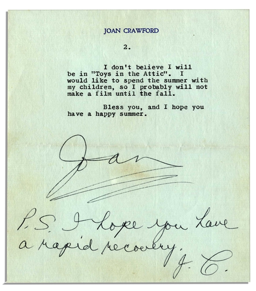 Joan Crawford Letter Signed With Autograph Postscript -- ''...I'm so happy that you saw Christina on 'Here's Hollywood'. She had such fun doing that show, and I thought she looked lovely...''