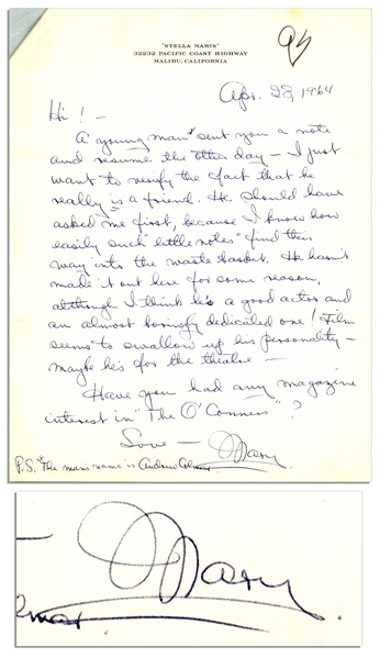 Mary Astor Autograph Letter Signed to Her Agent Regarding Her Novel -- ''...Have you had any magazine interest in 'The O'Connors'?...''