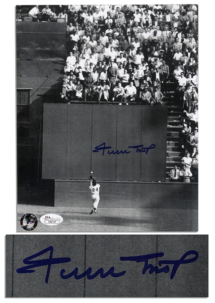Famous World Series Photo From 1954, ''The Catch'' Signed by Willie Mays -- 8'' x 10'' Photo Is in Near Fine Condition -- With JSA LOA