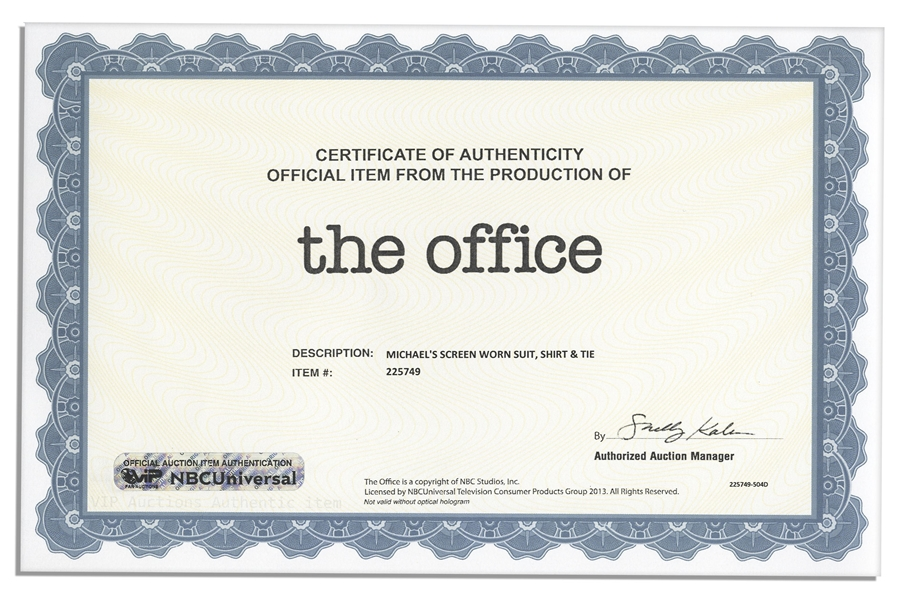 Steve Carell Screen-Worn Wardrobe From ''The Office'' -- With a COA from NBC Universal