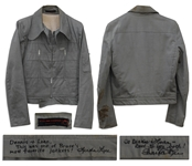Bruce Lees Grey Cotton Jacket -- With a COA From His Widow, Linda Lee Who States It Was One of Bruces Favorite Jackets