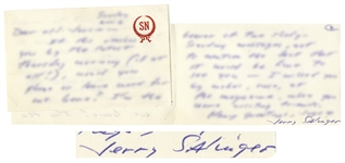 J.D. Salinger Autograph Letter Signed -- ...I missed you by inches, once...