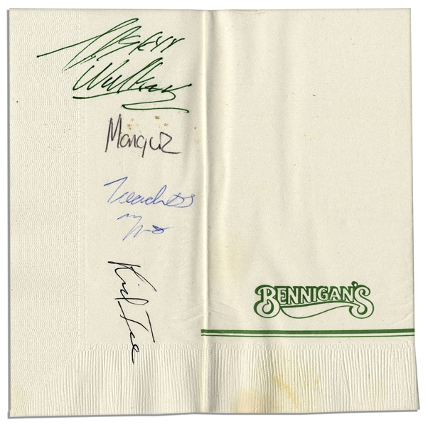 ''2 Live Crew'' Signed Napkin Including Deceased Kid Ice
