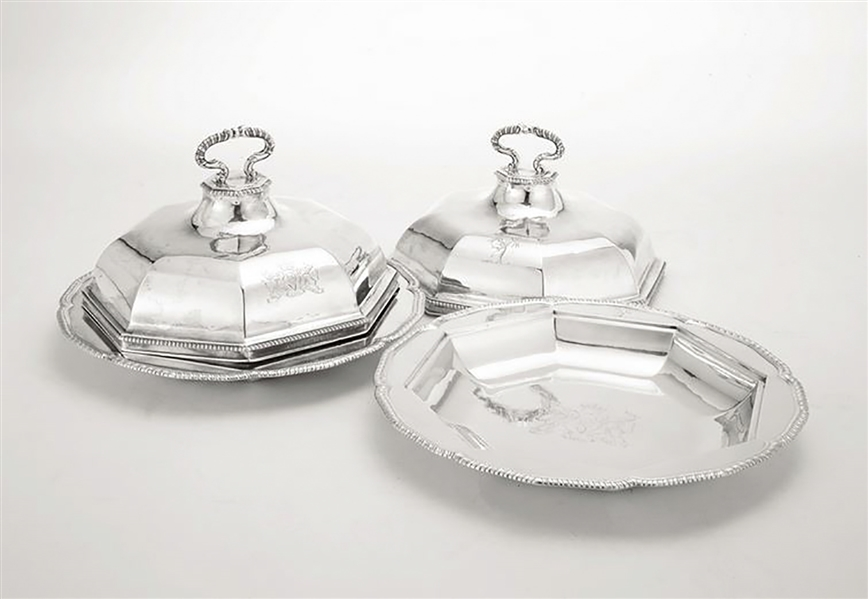King George III Style Pair of Silver Vegetable Dishes With Lids -- 1780