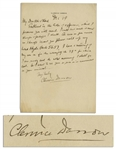 Clarence Darrow Autograph Letter Signed -- To Darrows Colleague Whom He Was Working With on Repealing Prohibition