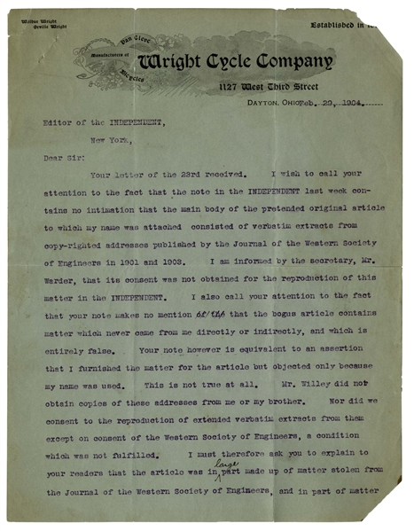 Two Months After their Successful 1903 Kitty Hawk Flight, Wilbur Wright Excoriates a Newspaper for Lying: ''...the bogus article contains matter which never came from me...and which is entirely...