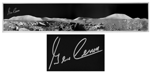 Gene Cernan Signed 40 Panoramic Photo of the Lunar Surface