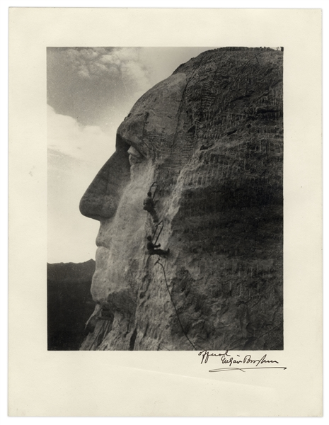 Scarce Mt. Rushmore Photograph Signed by Its Designer Gutzon Borglum  -- 10'' x 12.75''