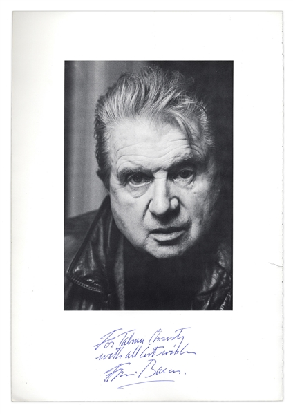 Artist Francis Bacon Signed Book Page With His Photo -- His ''Three Studies of Lucien Freud'' is The Most Expensive Painting Ever Sold at Auction