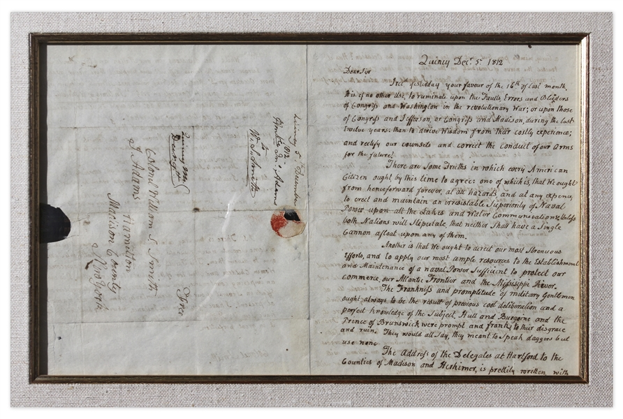 John Adams Autograph Letter Signed & Franking Signature During War of 1812: ''...It is of no other use to ruminate upon the faults, Errors & blunders of Washington in the revolutionary War...''